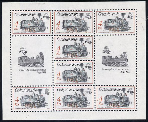 Czechoslovakia 1987 'Praga 88' Stamp Exhibition (2nd Issue) 4k Tank Locomotive in sheetlet of 8 plus 2 labels unmounted mint, from Communications set of 5 (SG 2882)