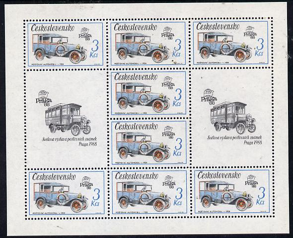 Czechoslovakia 1987 'Praga 88' Stamp Exhibition (2nd Issue) 3k Mail Van in sheetlet of 8 plus 2 labels unmounted mint, from Communications set of 5 (SG 2881)