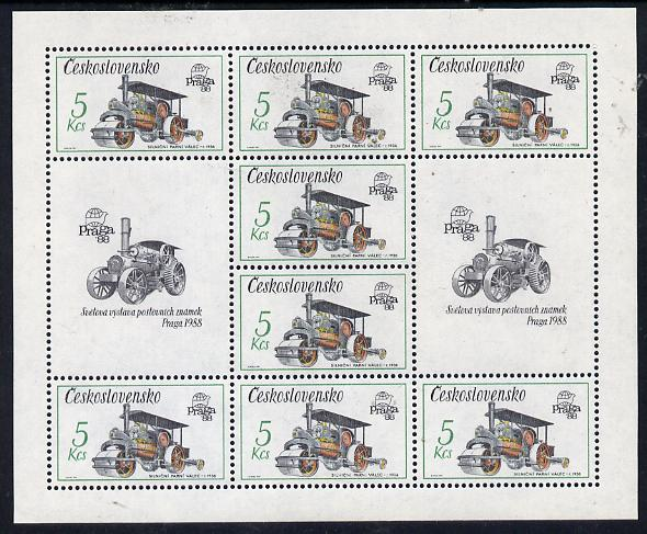 Czechoslovakia 1987 'Praga 88' Stamp Exhibition (2nd Issue) 5k Steam Roller in sheetlet of 8 plus 2 labels unmounted mint, from Communications set of 5 (SG 2884)