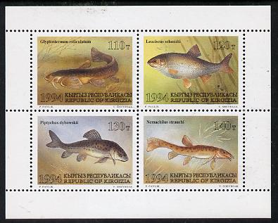 Kyrgyzstan 1994 Fish sheetlet containing set of 4 unmounted mint