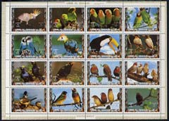 Umm Al Qiwain 1972 Exotic Birds #2 sheetlet containing 16 values with perforatins doubled at top (affects 4 stamps) as Mi 1402-17A