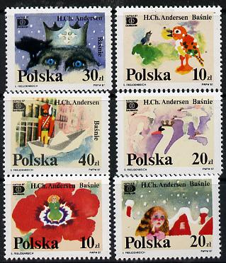 Poland 1987 'Hafnia 87' Stamp Exhibition (Hans Christian Andersen Fairy Tales) set of 6 unmounted mint, SG 3137-42, Mi 3125-30*