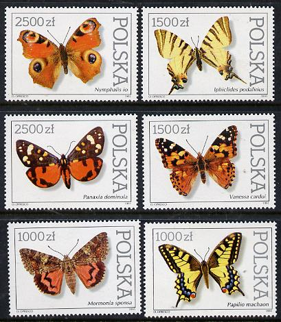Poland 1991 Butterflies & Moths set of 6 unmounted mint, SG 3369-74, Mi 3343-48
