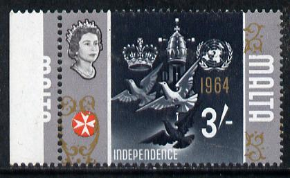 Malta 1965-70 Historical def 3s (Dove & Independence) with fine 2.5mm shift of gold (part of framework through perforations)*