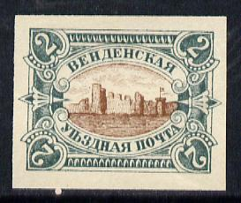 Russia - Wenden 1901 Castle 2k imperf colour trial in near issued colours on ungummed paper
