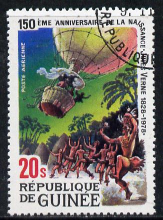 Guinea - Conakry 1979 Birth Anniversary of Jules Verne (Author) 20s (Five Weeks in a Balloon) fine used, SG 1003
