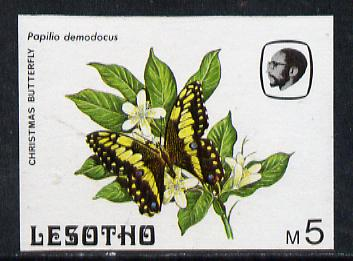 Lesotho 1984 Butterflies Christmas Butterfly 5m (top value) imperf proof with background colour omitted