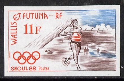 Wallis & Futuna 1988 Seoul Olympics 11f (Javelin) imperf proof from limited printing, as SG 535