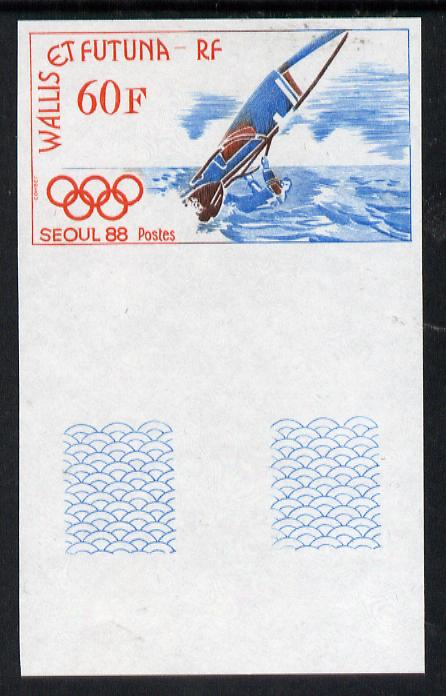 Wallis & Futuna 1988 Seoul Olympics 60f (Wind Surfing) imperf proof from limited printing, as SG 537, stamps on sport    olympics    wind-surfing