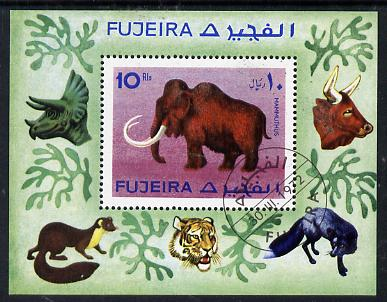 Fujeira 1972 Animals (incl Prehistoric) perf m/sheet showing Mammoth cto used, Mi BL 116A