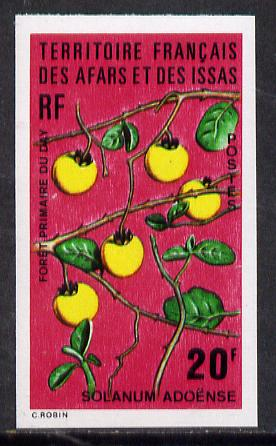French Afars & Issas 1974 Forest Plants (20f Solanum) imperf from limited printing unmounted mint, as SG 623*