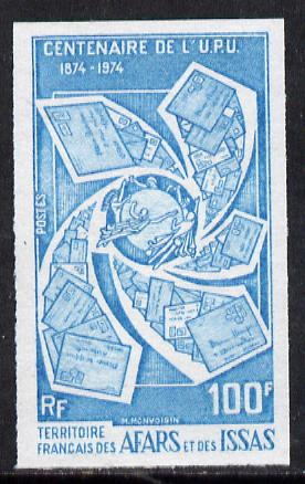 French Afars & Issas 1974 Centenary of UPU 100f unmounted mint IMPERF colour trial proof (several colour combinations available but price is for ONE) as SG 617