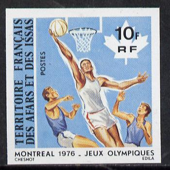 French Afars & Issas 1976 Montreal Olympics 10f Basketball imperf from limited printing unmounted mint, as SG 668*