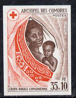 Comoro Islands 1974 Red Cross Fund 35f + 10f imperf from limited printing, unmounted mint as SG 156*