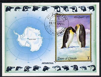 Umm Al Qiwain 1972 Antarctica imperf m/sheet (Penguins & Map) cto used Mi BL 51