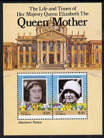 Tuvalu - Funafuti 1985 Life & Times of HM Queen Mother (Leaders of the World) m/sheet showing Blenheim Palace unmounted mint