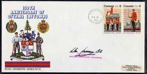Canada 1976 150th Anniversary of Ottawa illustrated commem cover with  Royal Military College se-tenant pair with special CFPO cancel signed by Director General Military Engineering Operations