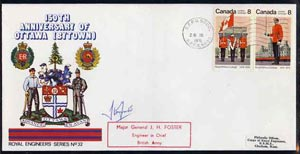 Canada 1976 150th Anniversary of Ottawa illustrated commem cover with  Royal Military College se-tenant pair with special CFPO cancel signed by Maj Gen J H Foster, Engine...