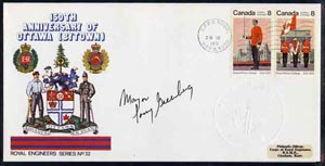 Canada 1976 150th Anniversary of Ottawa illustrated commem cover with  Royal Military College se-tenant pair with special CFPO cancel signed by Mayor of Ottawa and impressed with the Official Seal