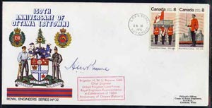 Canada 1976 150th Anniversary of Ottawa illustrated commem cover with  Royal Military College se-tenant pair with special CFPO cancel signed by Brig H Browne OBE, Chief E...