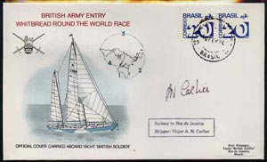 Brazil 1974 British Army Round the World Yacht race cover carried on board 'British Soldier' during stage 3 (Sydney to Rio) bearing 2 x Brazil 20c stamps with Brazil cds cancel signed by Skipper Major A N Carlier