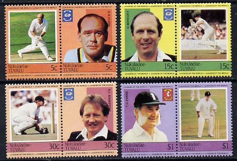 Tuvalu - Nukulaelae 1984 Cricketers (Leaders of the World) set of 8 unmounted mint