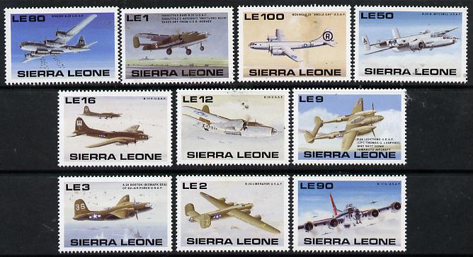 Sierra Leone 1990 50th Anniversary of end of World War II (American Aircraft) set of 10 unmounted mint, SG 1417-26*