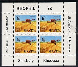 Rhodesia 1972 'Rhophil 72' Stamp Exhibition sheetlet containing 4 x 1c (Wheat) unmounted mint, SG MS 474