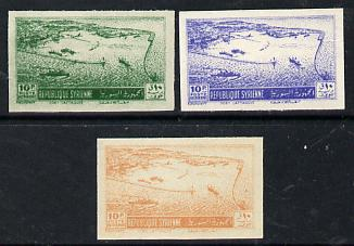 Syria 1950 Port of Latakia 10p three imperf coulur trials (in blue, yellow & green) as SG 498