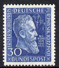 Germany - West 1951 50th Anniversary of Award to R\9Antgen - first Nobel Prize for Physics unmounted mint, SG 1073