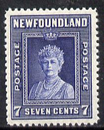 Newfoundland 1941-44 KG6 Queen Mary 7c (line perf 12.5) unmounted mint SG 281*