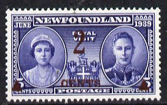 Newfoundland 1939 KG6 Royal Visit 2c on 5c unmounted mint, SG 273