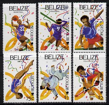 Belize 1988 Seoul Olympic Games perf set of 6 unmounted mint SG 1038-43