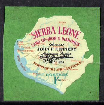 Sierra Leone 1964 Kennedy inscription on 1s Map with scarce SPECIMEN opt (publicity proof) unmounted mint as SG 303