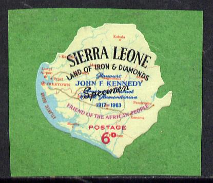Sierra Leone 1964 Kennedy inscription on 6d Map with scarce SPECIMEN opt (publicity proof) unmounted mint as SG 302, stamps on kennedy    personalities    maps