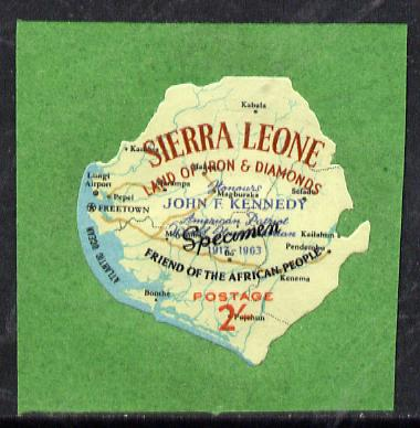 Sierra Leone 1964 Kennedy inscription on 2s Map with scarce SPECIMEN opt (publicity proof) unmounted mint as SG 304