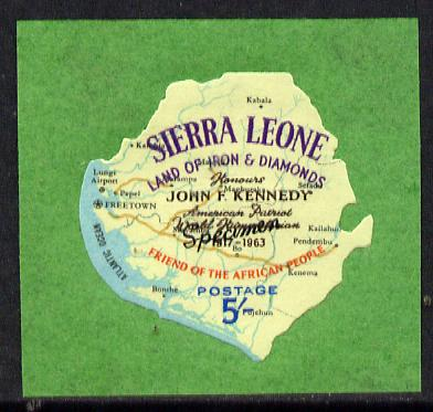Sierra Leone 1964 Kennedy inscription on 5s Map with scarce SPECIMEN opt (publicity proof) unmounted mint as SG 305