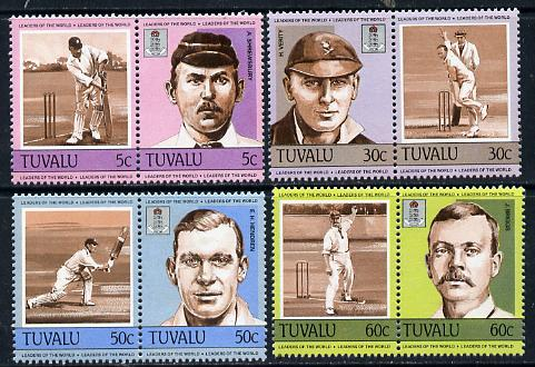 Tuvalu 1984 Cricketers (Leaders of the World) set of 8 unmounted mint, SG 281-88