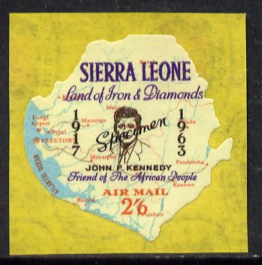 Sierra Leone 1964 Kennedy inscription on 2s6d Map with scarce SPECIMEN opt (publicity proof) unmounted mint as SG 309
