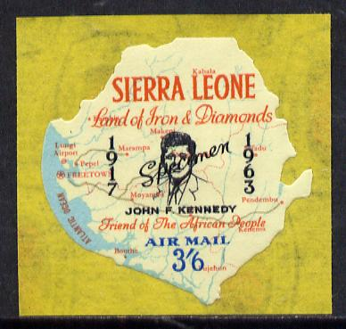 Sierra Leone 1964 Kennedy inscription on 3s6d Map with scarce SPECIMEN opt (publicity proof) unmounted mint as SG 310