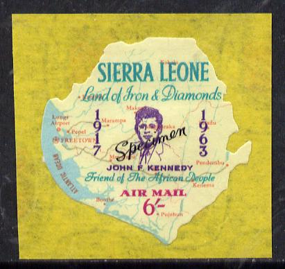 Sierra Leone 1964 Kennedy inscription on 6s Map with scarce SPECIMEN opt (publicity proof) unmounted mint as SG 311
