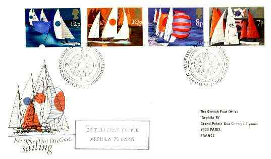 Great Britain 1975 Sailing set of 4 on cover with first Day Cancel and 'British Post Office/ Arphila 1975' cachet in violet