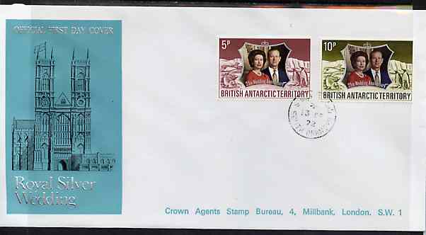 British Antarctic Territory 1972 Royal Silver Wedding set of 2 on cover with first day cancel