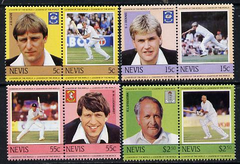 Nevis 1984 Cricketers #2 (Leaders of the World) set of 8 unmounted mint SG 237-44