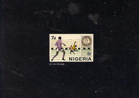 Nigeria 1973 Second All Africa Games - delightful stamp sized hand-painted artwork showing Football with value expressed as 7d (the issue was released showing the new cur...