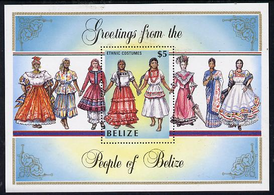 Belize 1986 Costumes $5 Amerindian perf m/sheet unmounted mint SG MS 895