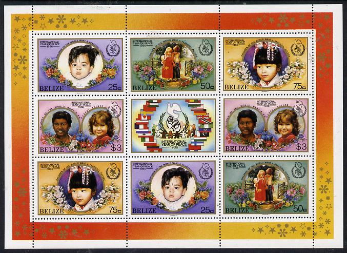 Belize 1986 International Peace Year perf sheetlet containing 2 sets of 4 plus label unmounted mint SG 957-60