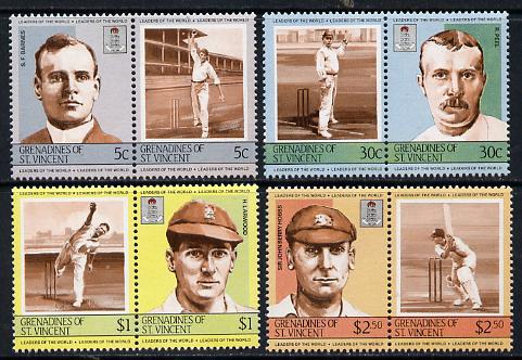 St Vincent - Grenadines 1984 Cricketers #2 (Leaders of the World) set of 8 unmounted mint (SG 331-38)