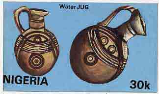 Nigeria 1990 Pottery - original hand-painted artwork for 30k value (Water Jug) by S O Nwasike similar to issued stamp on card 8.5 x 5 endorsed D4 with 'Bromide Proof' h/stamp on back