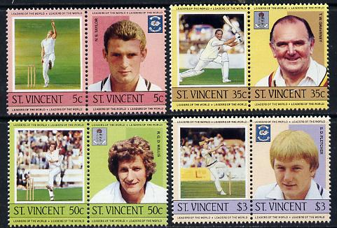 St Vincent 1985 Cricketers (Leaders of the World) set of 8 unmounted mint SG 842-49
